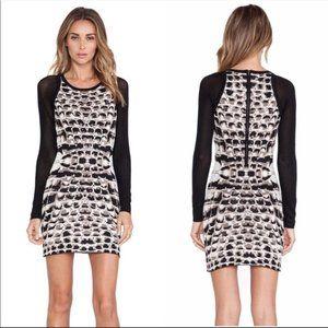 Parker Black White Hartley Body Con Dress Size S
